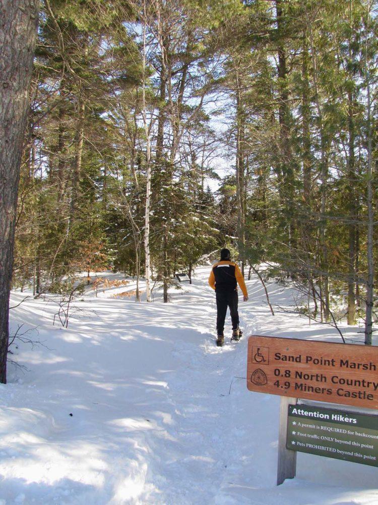 Man snowshoeing through woods at Pictured Rocks National Lakeshore.