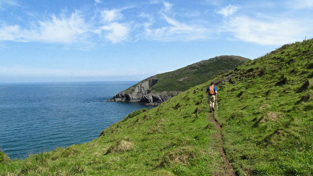 Man hiking on rugged, green bluffs near sea on Wales Coast Path.