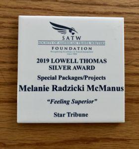 White tile for 2019 Lowell Thomas Travel Awards