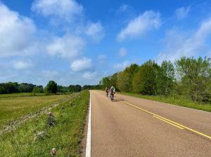 Cyclists on the Natchez Trace near Clinton.