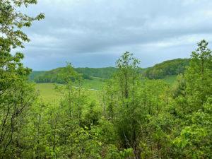 Sweeping vista of green hills under cloudy skies.