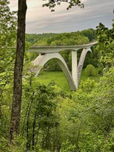 A famous double-arch bridge near the Natchez Trace northern terminus.