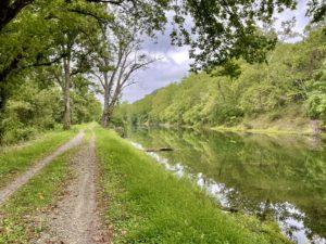 Trail running along old canal near Cumberland, Maryland.