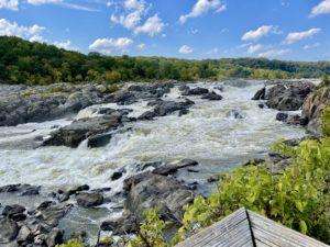 Roaring waterfall over many rocks at Great Falls.