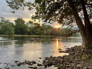 Sun setting over the Potomac River.