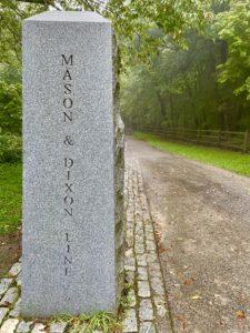 Concrete pillar marking the Mason & Dixon Line near Meyersdale, Penn.